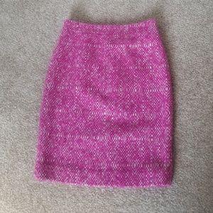 J.Crew No.2 Pencil Skirt Fuschia Corkscrew Tweed